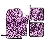 Juego de 4 Guantes y Porta ollas para Horno Resistentes al Calor Fondo de Piel de Leopardo púrpura para Hornear en la Cocina,microondas,Barbacoa