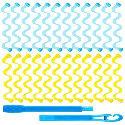 Gobesty Kit de rizadores de pelo, 24 rizadores de pelo de 30 cm, rizos en espiral, rizos sin ondas de calor, kit de peinado con 2 piezas de ganchos para el pelo largo para las mujeres