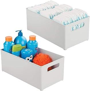 mDesign Contenedor organizador de almacenamiento, asas para niños/suministros infantiles en la cocina, despensa, guardería...