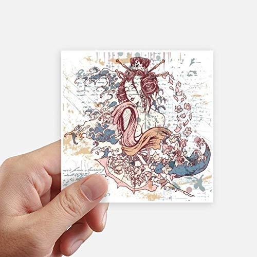 DIYthinker Waves Geisha Kimono Fan Japon Autocollant carré de 10 cm Mur Valise pour Ordinateur Portable Motobike Decal 8Pcs 10Cm X 10Cm Multicolor