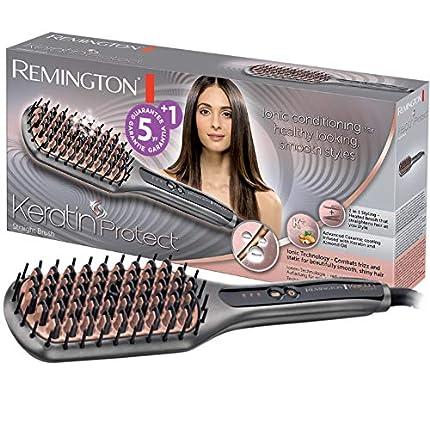 Remington CB7480 Keratin Protect Straight - Cepillo Alisador, Cerdas de Cerámica, Keratina y Aceite de Almendras, Gris y Rosa