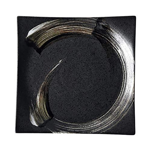 Vajillas elegantes Placa de Cena de cerámica Negra Placa de Sushi Japonesa Placa de Filete Cuadrado Placa de Postre Casa Restaurante Retro Snack Placa (Color : Black, Size : 9 Inches)