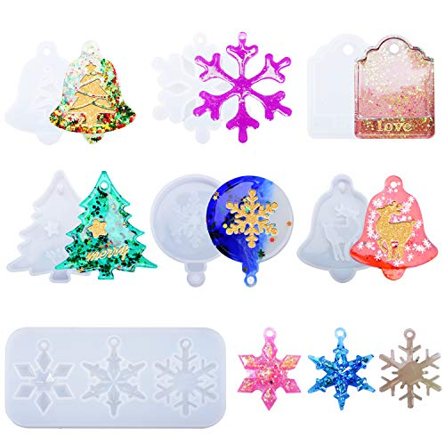 7Pcs Resin Ornament Molds, Christmas Resin Mold Silicone, Resin Casting Mold Set for Xmas Decorations, Silicone Molds Keychain Snowflake Ornament Resin Mold DIY Bag Tag