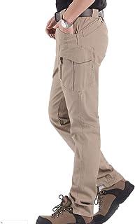LCZ Pantalon de Travail des Hommes Pantalons imperméables desserrées Poches,Beige,XXL