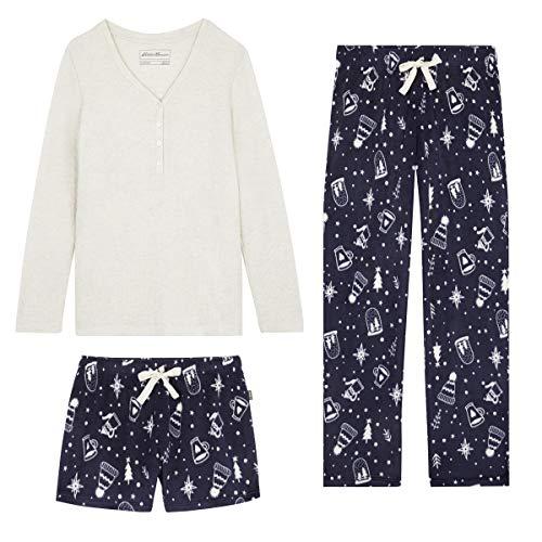 Eddie Bauer 3-Piece Womens Pajamas Set, Waffle Henley Top, Fleece Pants, Shorts
