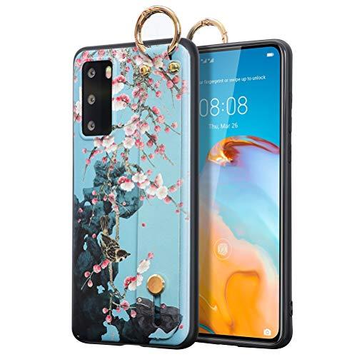 ZhuoFan Funda para Huawei Honor V40 5G, Silicona Pulsera Cárcasa Soporte con Dibujos Diseño Suave TPU Antigolpes de Protector Piel Case Cover Bumper Fundas para Honor V40 5G 6,72', Flor