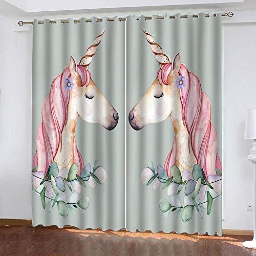 DRFQSK Cortinas Infantiles Impresión Digital Caballo Animal De Color 3D Cortinas Opacas Termicas Aislantes Cortinas Dormitorio Moderno con Ollaos, 2 Paneles 300 X 270 Cm(An X Al)