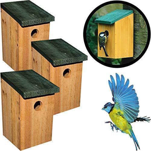 Stimo 3er Set Nistkasten inklusive Aufhängevorrichtung/Vogelhaus 12 x 12 x 22 cm aus Holz für Meisen