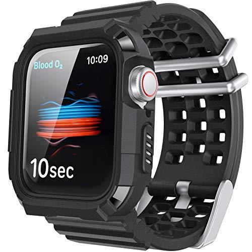 AHASTYLE Apple Watch Armband mit Gehäuse【Displayschutz NICHT Enthalten】für iWatch 42mm/44mm, Atmungsaktiv Sport iWatch Gürtel für Apple Watch Series SE/6/5/4/3/2/1 (Schwarz, 42mm/44mm)…
