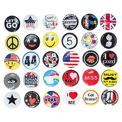 Riesige Großhandel von Set von 30neue Pins/Knöpfe/80Tasten Pins des Slogans Sprüche Pin, Anstecknadel für Kleidung/Taschen/Rucksack/Hüte/Jeans und mehr...