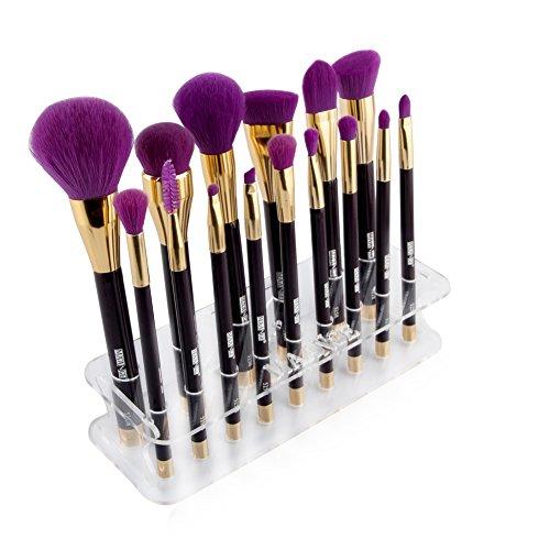 KISSION Ronde Maquillage Brosse Support Brosse de Maquillage support presentoir etagere Organiseur Acrylique 15 Lattices pour brosse Ronde