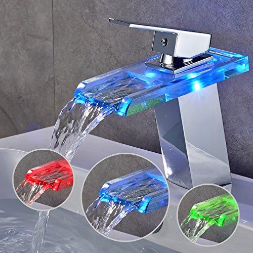 Auralum® Elegant LED RGB Glass Mischbatterie Armatur Wasserhahn Chrom Wasserfall Waschtisch Waschtischarmatur für Bad Badezimmer Küchen - 3