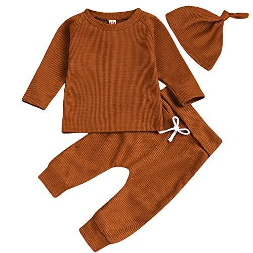 3-teiliges Outfit für Neugeborene, Babys, Jungen, Mädchen, Nachtwäsche, Pyjama-Set, lange Ärmel, Oberteil, Hose, einfarbig, Kleidungs-Set, 0–24 Monate Gr. 0-6 Monate , braun