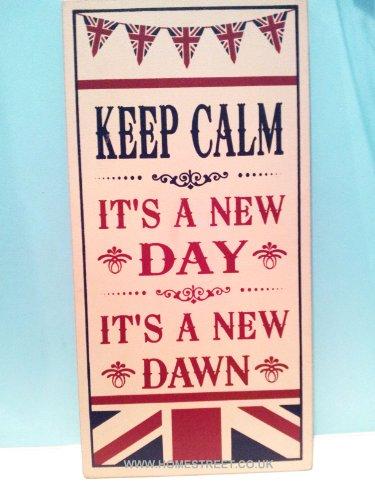 Large en bois style rétro Inscription Keep Calm and Carry On/Union Jack-sa un nouveau jour de sa A New Dawn