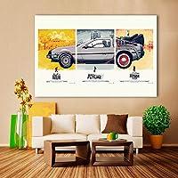 映画ポスターキャンバスアートバックトゥザフューチャー油絵壁画リビングルーム家の装飾-60x90cm-フレームレス