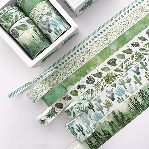 8 Rolls Washi Tape Set, Cute Green Plants Floral Animals, Decorative Tape for Scrapbooks, Journals, DIY Decor and Craft Aplied (Green)
