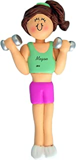 Calliope Designs Weightlifter Personalized Christmas Ornament - Female - Brown Hair - Handpainted Resin - 4.5