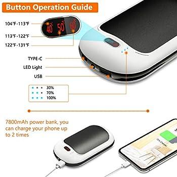 PEYOU Chauffe-Mains Rechargeable USB/USB-C 7800mAh Power Bank Batterie Externe Chaufferette Main Poche Réchauffeur de Mains Portable avec éclairage LED pour iphone,Samsung,ipad,etc(Noir)