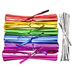 """Mini Skater 700pcs 4"""" Metallic Twist Ties - Colored (7 Colors) 9 Length:About 4 inch 7colors : red ,hot pink, green,silver,Purple,blue,yellow package content: 700 pcs, per color 100pcs"""