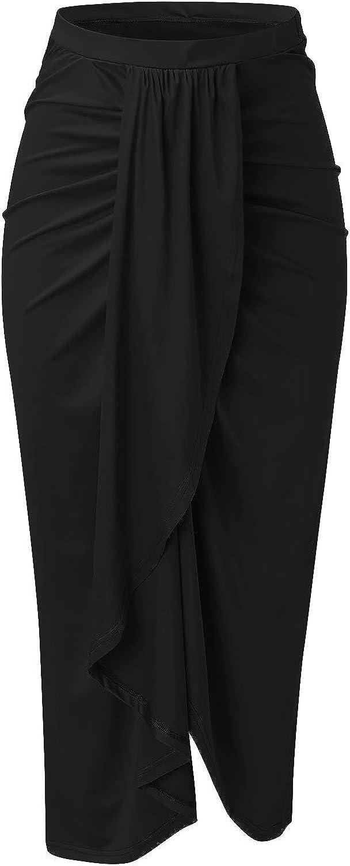 Maxi Skirt for Women - Lady's Casual Wrap Asymmetrical Elastic High Waist Draped Skirt