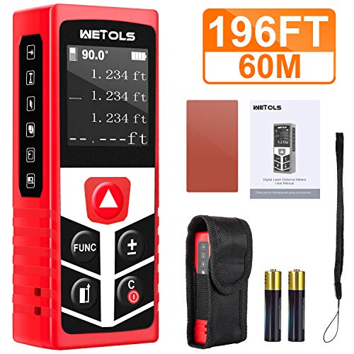 WETOLS Laser Distance Meters, 196ft M/In/Ft Laser Measure with Electronic Angle Sensor and Mute Function, Backlit LCD, for Pythagorean, Distance, Area and Volume Measuring, WE-183