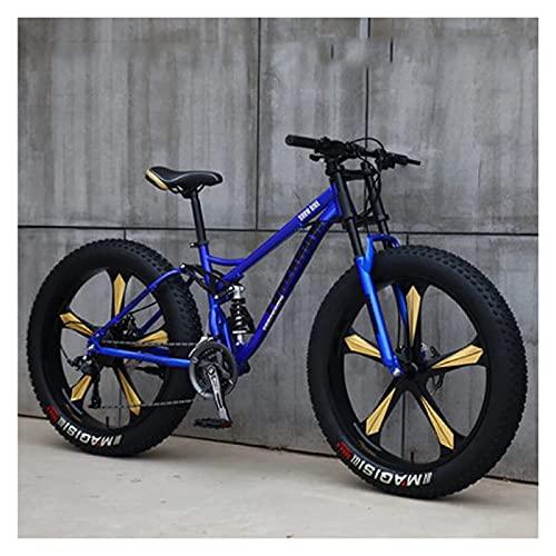 26 'Bicicletas de montaña, bicicleta de senderos de la montaña de la grasa adulta, 21 velocidades / 2421 velocidades de velocidad, marco de acero de alto contenido de carbono Dual suspensión completa