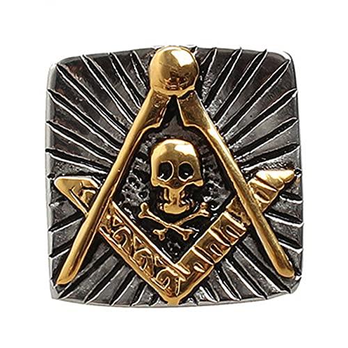 FLQWLL Anillo De Masonería Estrella De Cinco Puntas Logotipo De Masonería De Acero De Titanio,8
