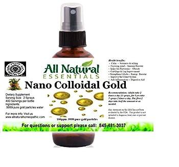 Colloidal Gold Mineral Supplement True Pure Nano Colloidal Liquid Gold Minerals 2oz Bottle 240ppm .999 True Gold Kosher Certified All Natural Colloidal Gold for Adults Men Women Kids