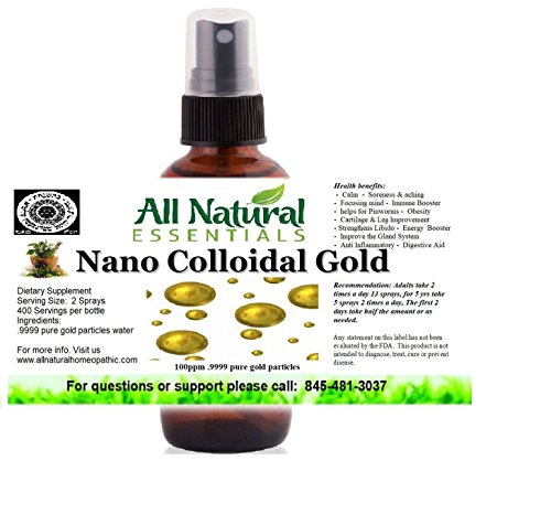Colloidal Gold Mineral Supplement True Pure Nano Colloidal Liquid Gold Minerals 2oz Bottle 240ppm .999 True Gold Kosher Certified All Natural Colloidal Gold for Adults Men Women Kids
