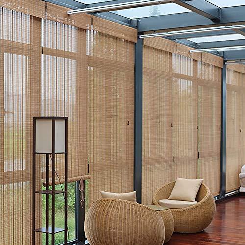 LIQI Bambusrollo Außen- und Innenfenster-Rollo, Verdunkelungsrollo aus Bambus mit Haken, Sichtschutz for Wanddekor (Size : W 140×H 160cm)