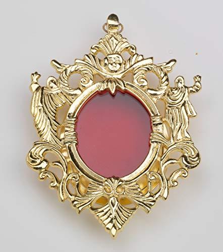 Relicario, Altura 12 cm, Ancho 9 cm, Latón Chapado en Oro, Oro, Oval