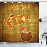 ABAKUHAUS Tiki Bar Cortina de Baño, Tablón de Madera Aloha, Material Resistente al Agua Durable Estampa Digital, 175 x 200 cm, Marrón Rosa Naranja