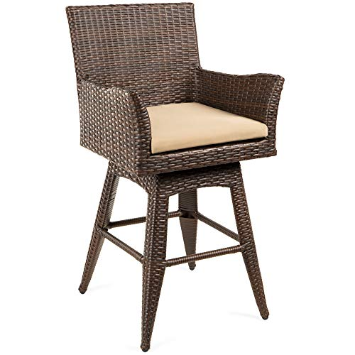 Best Choice Products Outdoor Patio Furniture All-Weather Brown PE Wicker Swivel Bar Stool w/Cushion - Brown