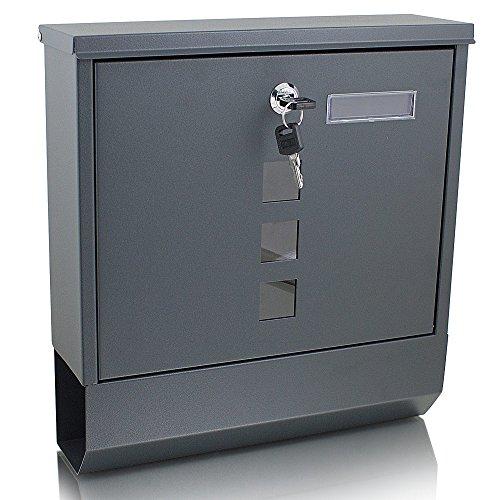 BITUXX® Briefkasten anthrazit grau Post Briefkasten Wandbriefkasten mit Zeitungsrolle