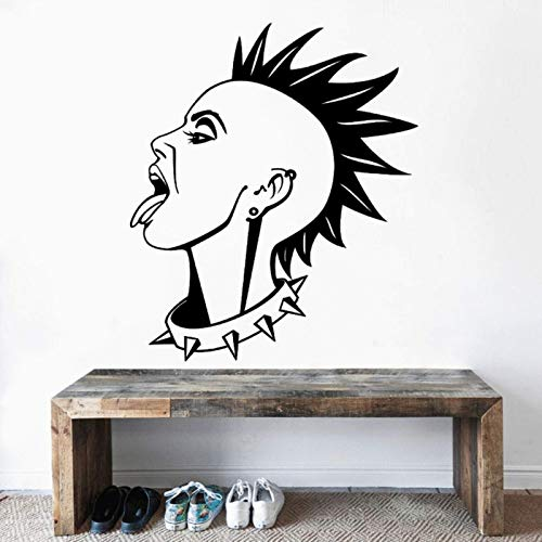 AGiuoo Woman Punk Hairstyle Wall Decal Girls Room Sticker Home Living Room Decoration Removable 57x67cm