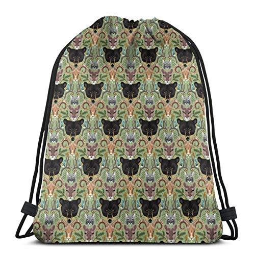 Mochila con Cordón,Bolsas De Cuerdas Gimnasio,Animales Bear Mountain Hombres Mujeres Atlético Pull String Bag para Viajar Yoga Compras Escuela Entrenamiento Playa