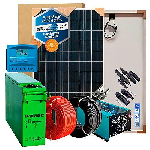 Kit Solar 12v 600W/3000W día Regulador de carga PWM 40A Batería AGM TFS-250AH Inversor 1000w onda pura con cargador 25Ah