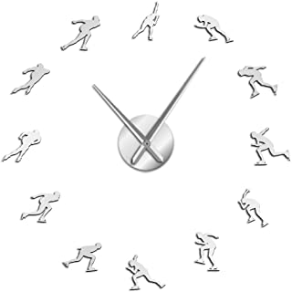 Wall clock Winter Sports Ice Speed Skating Large DIY Wall Clock Ice Skate Blade Home Decor Speed Roller Mirrors Surface Sk...