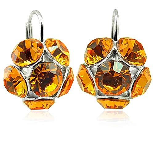 Blüten-Ohrringe mit Kristallen von Swarovski® Silber Braun NOBEL SCHMUCK
