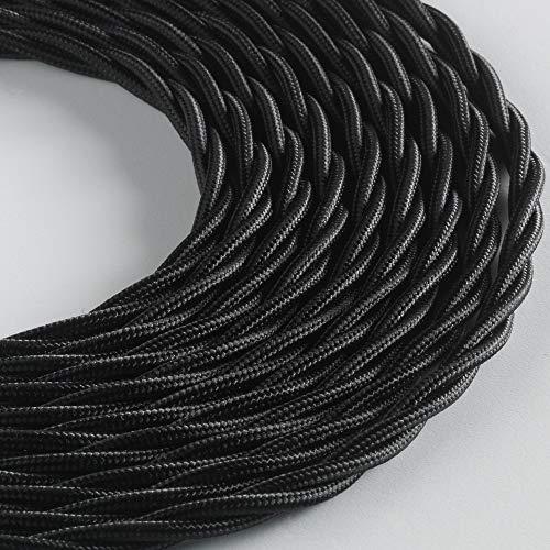Klartext - Cavo tessile trecciato BELLE ÉPOQUE per installazione elettrica vintage, 3X1,5mm, Nero, 10mt.
