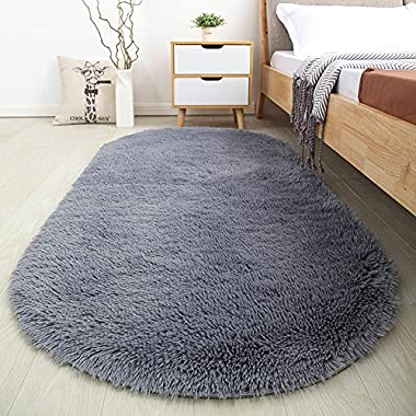 Softlife Soft Velvet Silk Rugs Simple Style Modern Oval Shaggy Carpet Fashion Bedroom Mat for Dining Living Room Rugs and Girls Room Home Decor by 2.6' X 5.3' Grey
