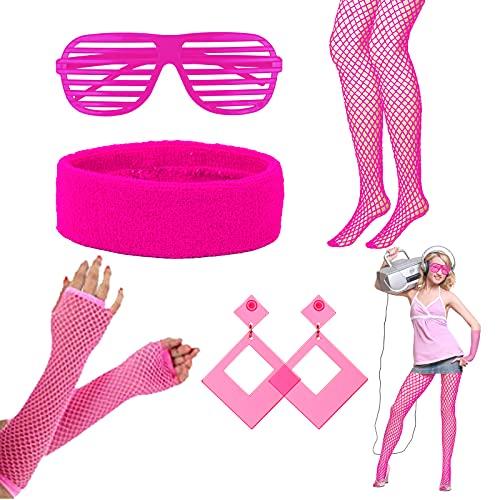 LAMEK 5 Stück 80er Jahre Kleidung Neon Party Outfit 1980s Damen Accessoires 80s Kostüm Set Partyzubehör mit Strinband Ohrring Brille Netzstrumpf Netzhandschuhe für Frauen Mädchen Karneval Flasching