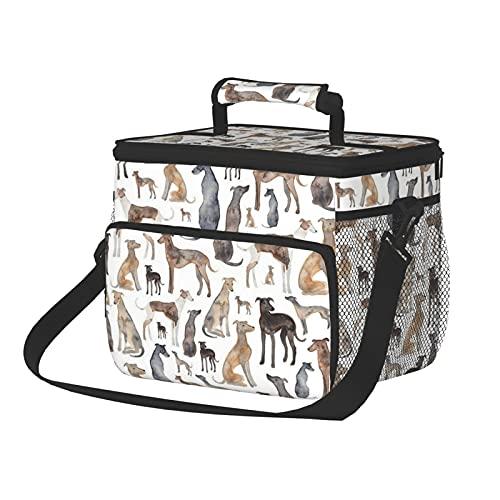 Bolsa de almuerzo de tela Oxford bolsa de almuerzo bolsa de hielo galgos toallitas y perros Lurcher