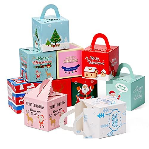 30 Geschenkboxen Geschenkschachtel Weihnachten, Papier Geschenktüten mit Henkel, 9.5cm| Umweltfreundlich, Premium Karton, Robust| Kekse Pralinen Plätzchen Geschenkverpackung Mitgebsel Giveaways.