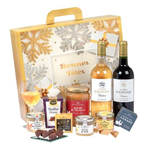 """Ducs de Gascogne - Coffret gourmand """"Bonnes fêtes"""" - comprend 9 produits dont un bloc de foie gras, un vin blanc moelleux et un vin rouge - spécial cadeau (946595)"""