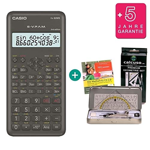 Casio FX-82MS 2 + Extensión de la garantía a 60 meses + Kit de geometría de Calcuso + Mathefritz CD de aprendizaje CALCUSO (alemán)