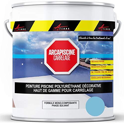 Peinture piscine carrelage plus résistante qu'une peinture epoxy bassin Polyuréthane - Bleu Piscine - 5 kg (jusqu'à 15m² pour les 2 couches) - ARCANE INDUSTRIES