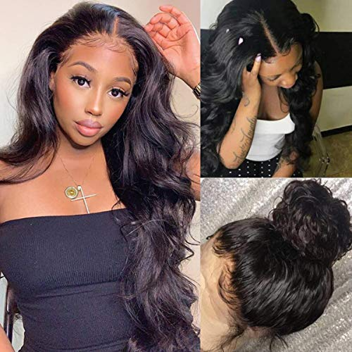 360 Lace Frontal Wigs Human Hair body wave 360 Wigs for Black Women 360 Human Hair Wig Pre Plucked with Baby Hair Bleached Knots 360 Lace Wig Human Hair 150% Density (20 Inch, 360 Wig)
