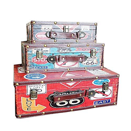 Zhicaikeji Maletas Vintage La Madera Antigua Caja de la decoración del hogar de Disparo Decorativos Maletas Caja de Almacenamiento de los apoyos 3pcs para Almacenamiento (Color, Size : 3 PCS)