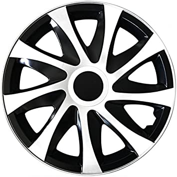 Choose Your Size Draco Hubcaps Wheel Black White Bi Colour For Almost All Types Of Vehicles Universal Black White Auto
